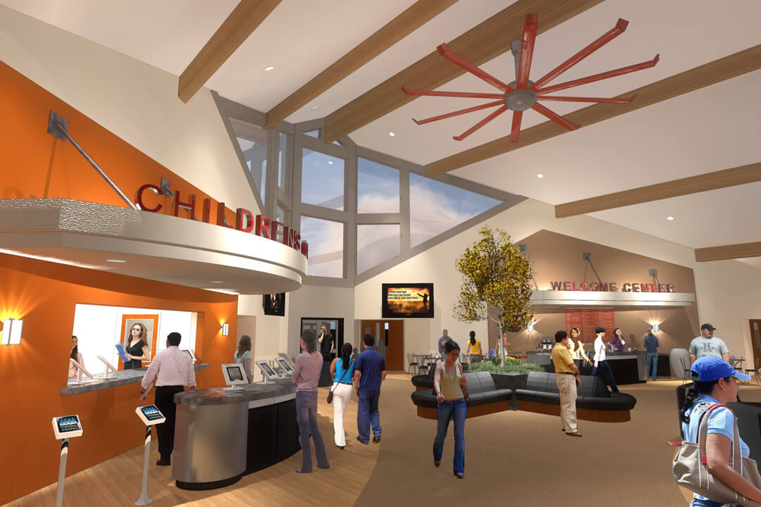 Church Foyer, Church Lobby, Mountain View Baptist Church, Church Renovation, Mountain West Architects, Layton Church
