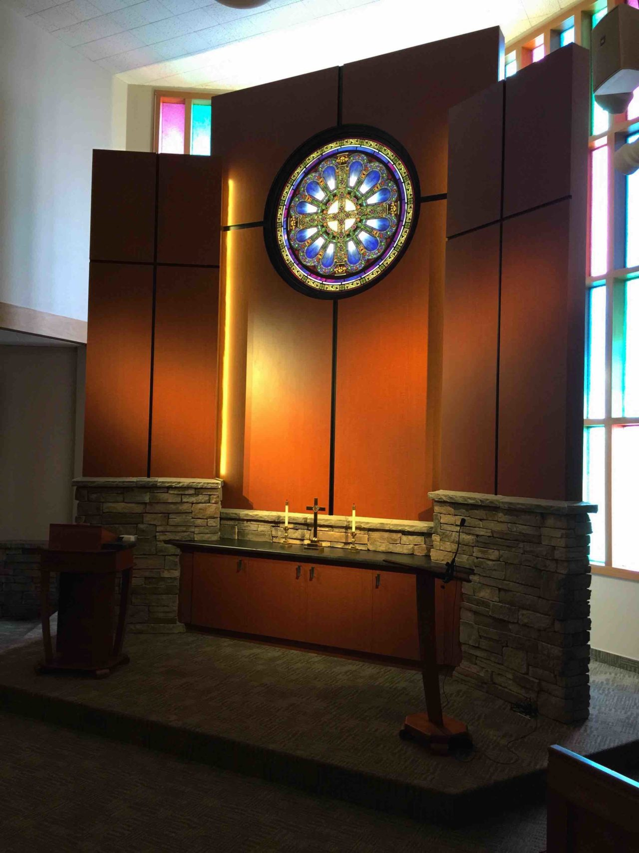 Stained Glass, Laminate, Presbyterian church, renovation, existing facility, Wyoming, Cheyenne