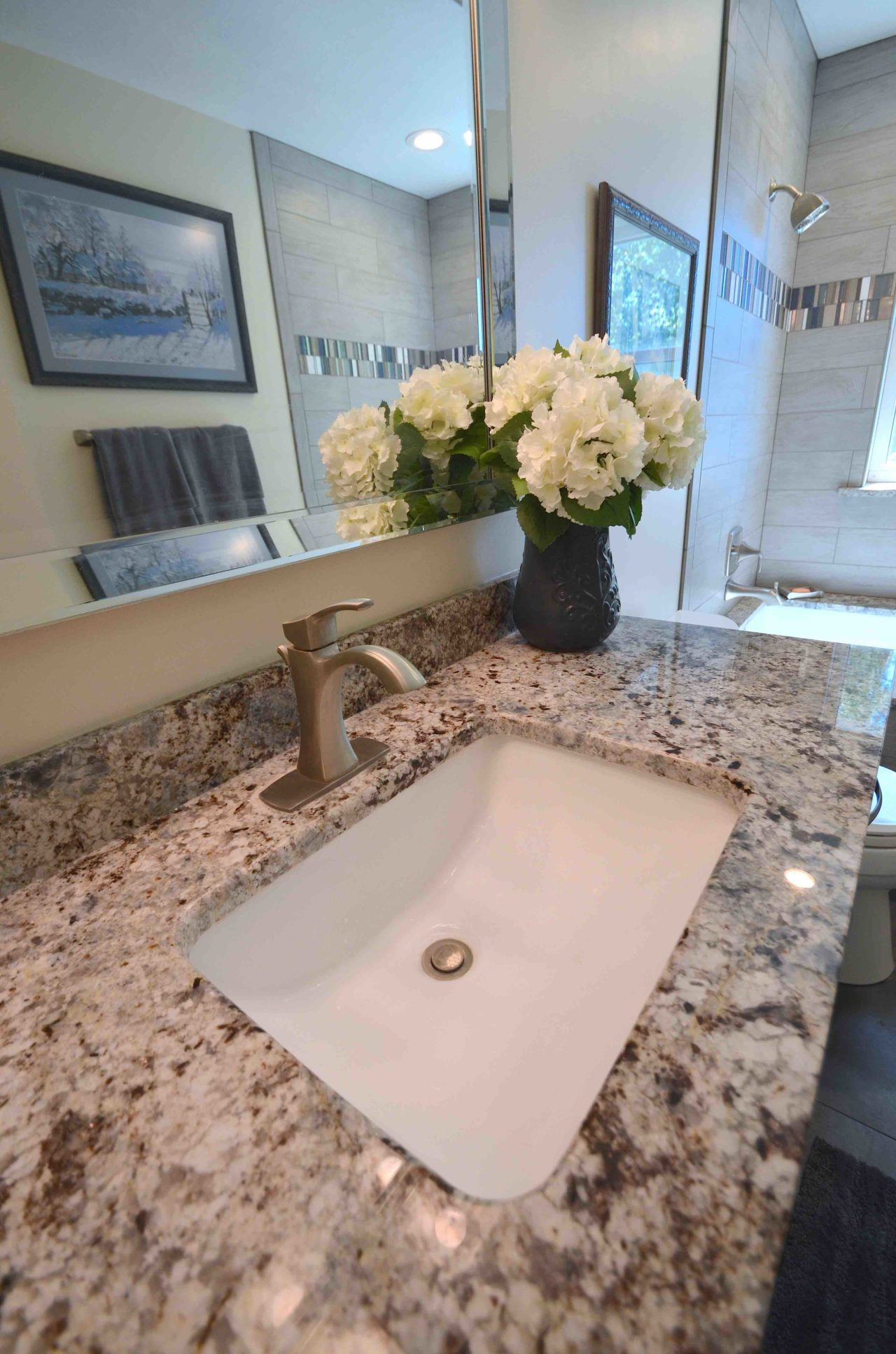 Mountain home. Granite custom bathroom
