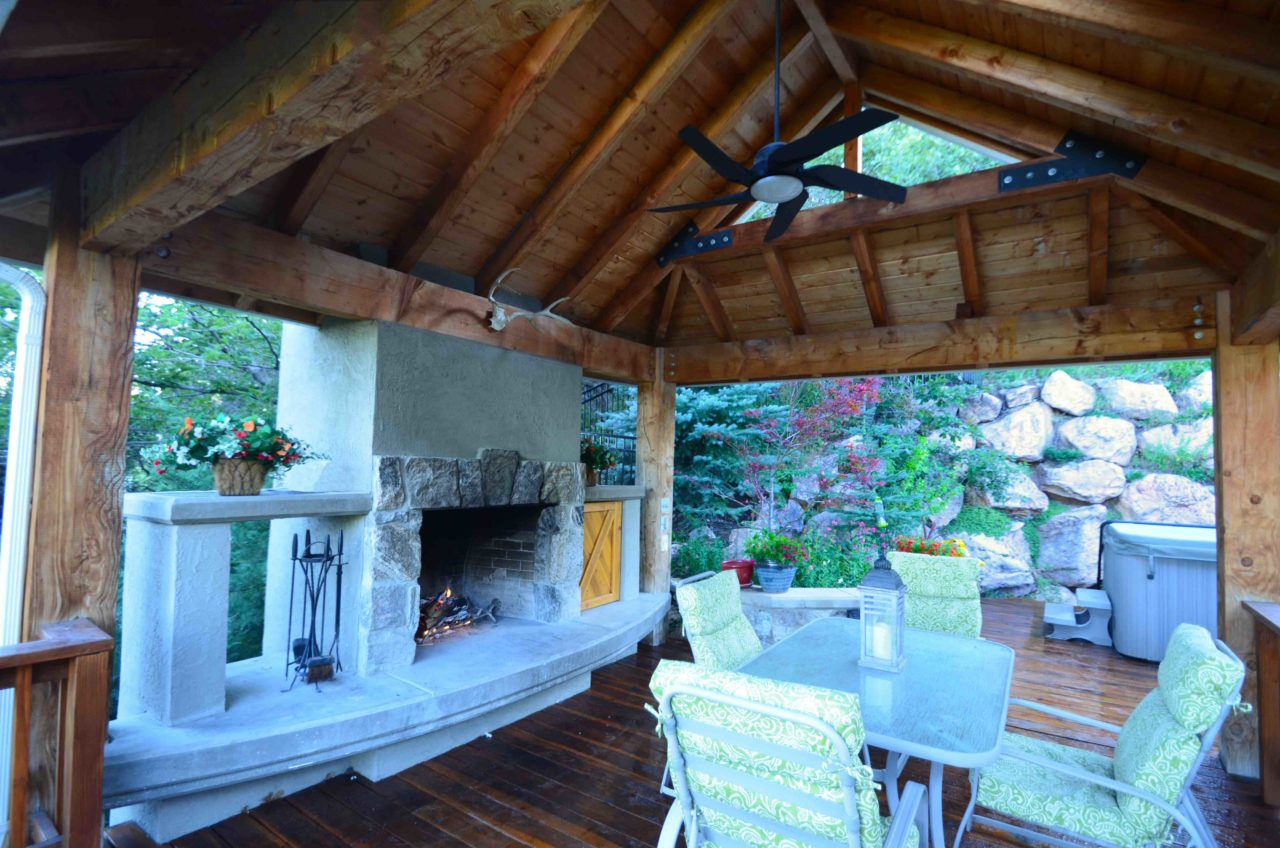 Mountain home. Wood timber residential deck