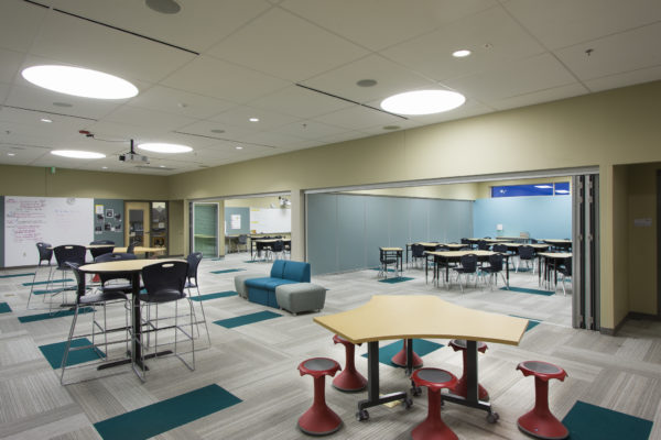 photo courtesy of Tubelite, Inc. Sliding partition doors create small study rooms or a larger collaborative space.