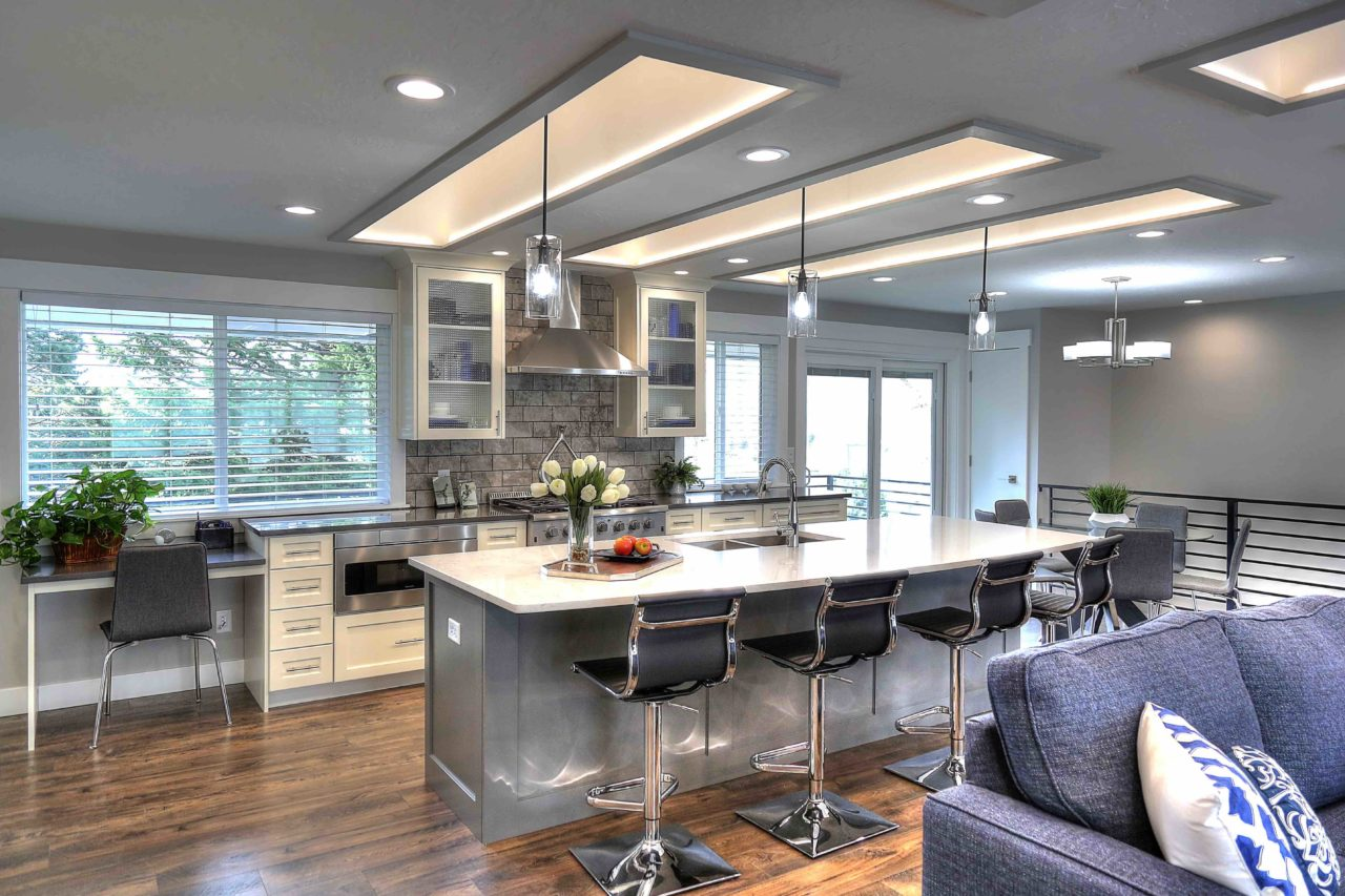 Ogden Contemporary Residential renovation, custom cabinetry, coffer ceiling, large kitchen island, white cabinetry, gray cabinetry, open concept.