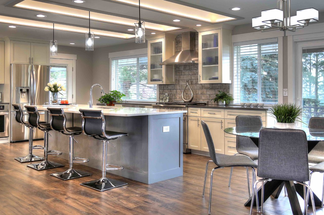 Ogden Contemporary Residential Renovation Custom Cabinetry Coffer Ceiling Large Kitchen Island White