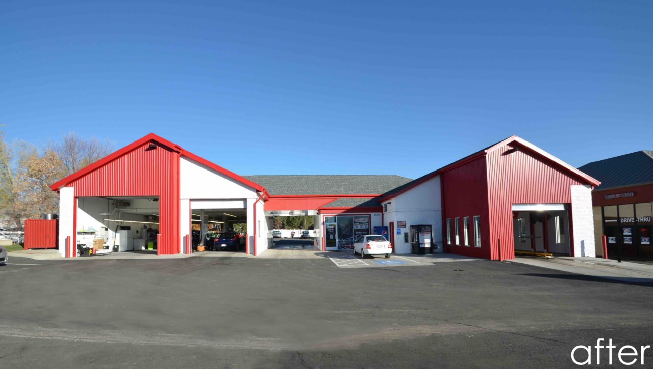 Gorilla Shine Car Wash, Layton, UT. Mountain West Architects. Remodel Design. Bright Car Wash exterior. Metal siding. CMU car wash exterior. Metal car wash exterior/