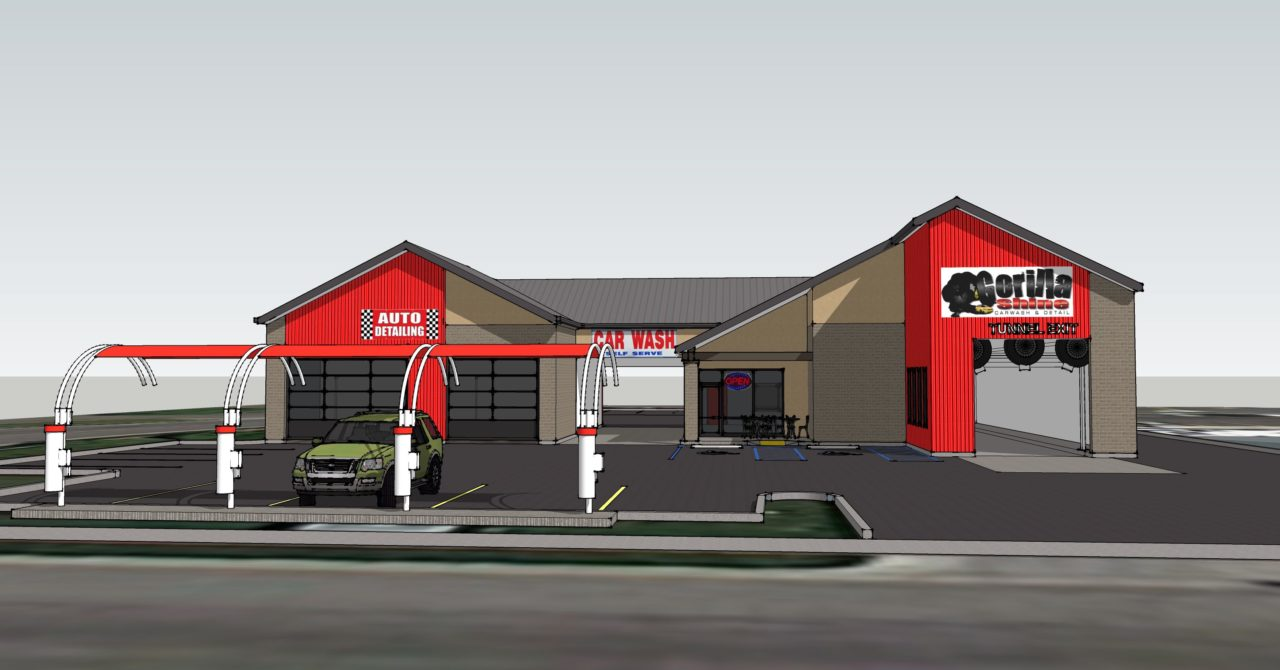 Gorilla Shine Car Wash, Layton, UT. Mountain West Architects. Remodel Design