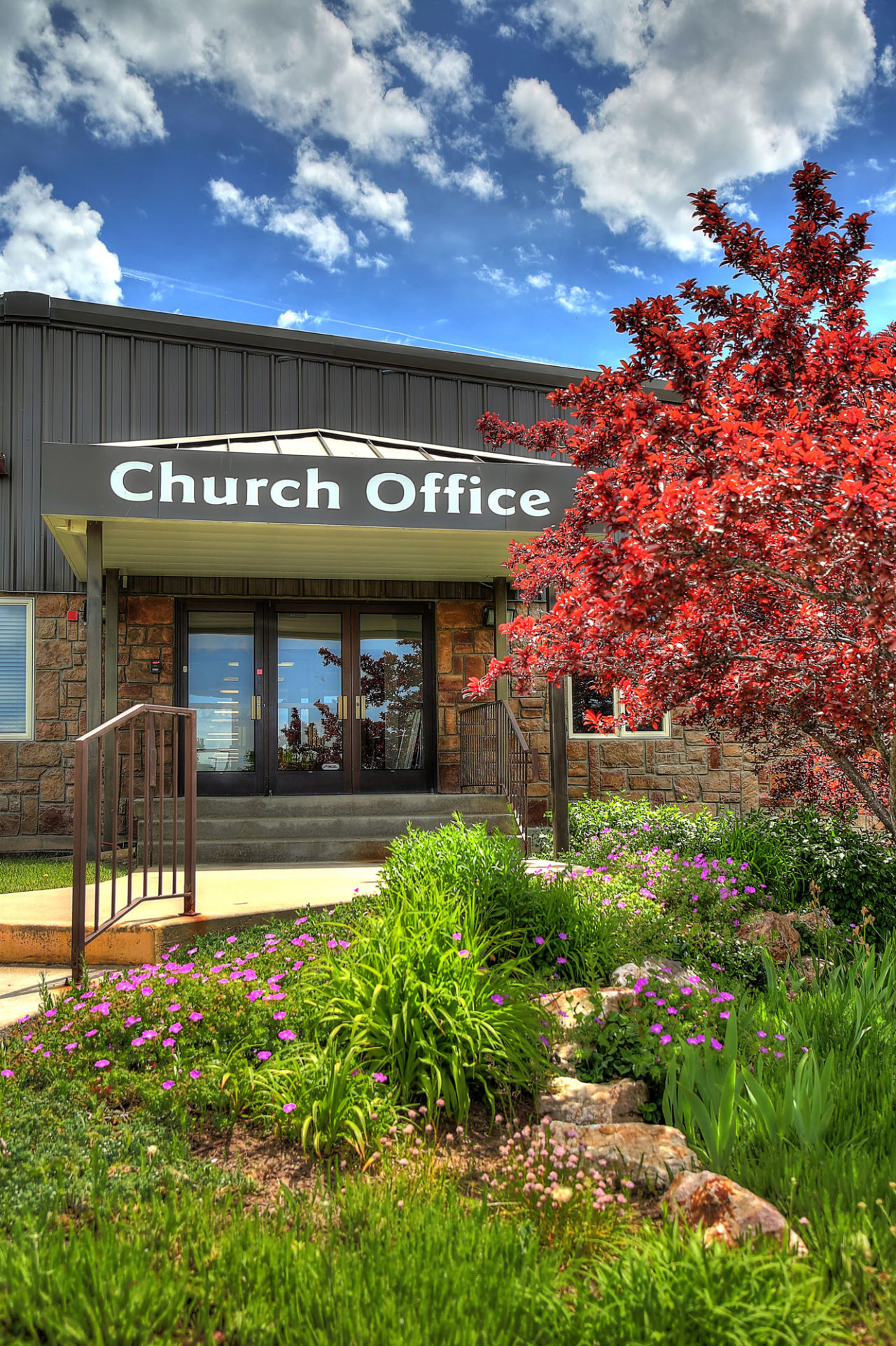 Church Office Entrance, metal siding, metal siding in churches, Stone cladding exterior, stone cladding church exterior