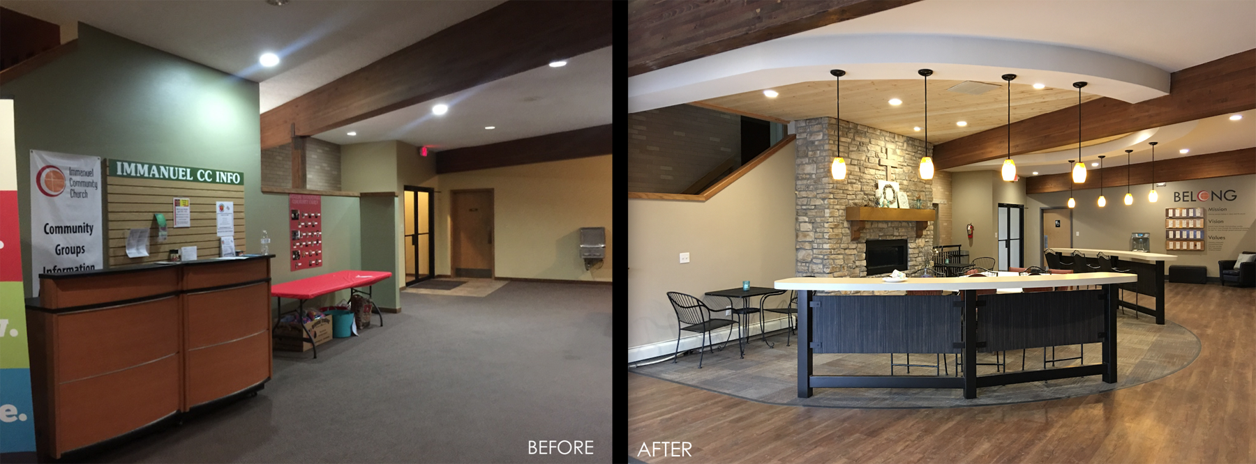 Church renovation. Church foyer. modern church foyer. church fireplace.
