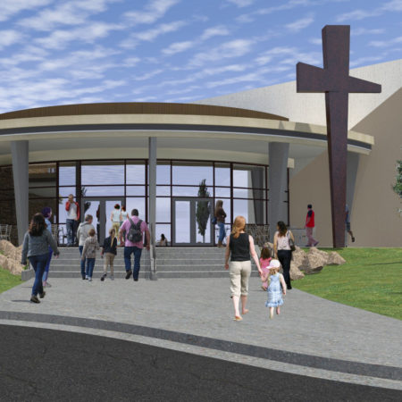 exterior modern cross. diagonal exterior building lines. church renovation. church welcome center. church storefront.
