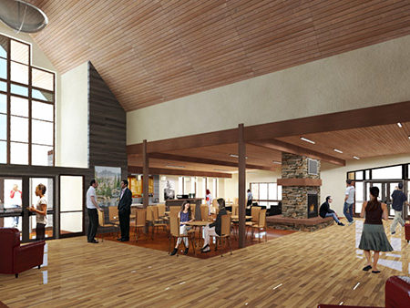 Rendering for First Baptist Church foyer, New Plymouth, Idaho, wood finish flooring in church, natural light in church building, wood ceilings