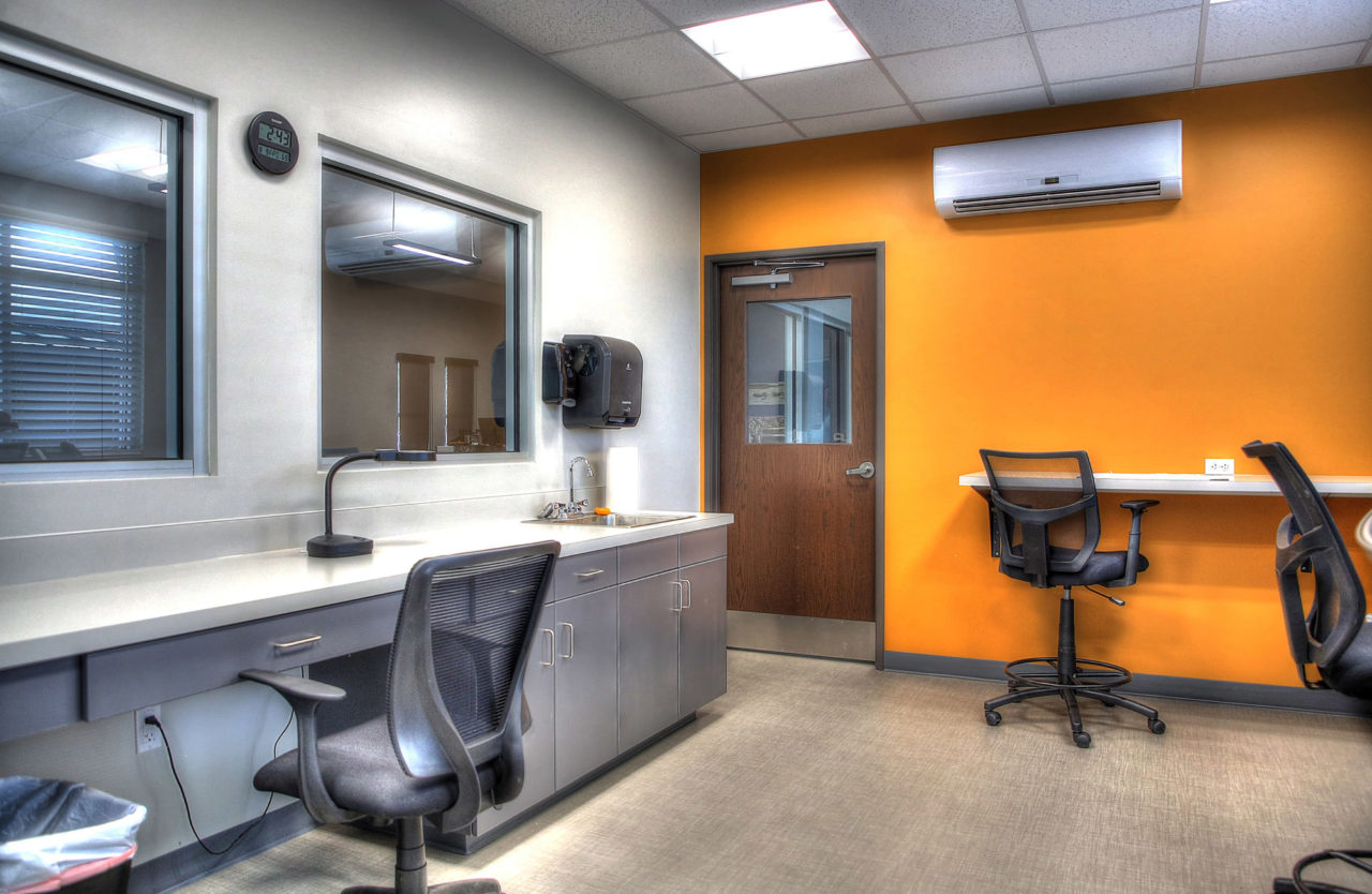 Weber County Mosquito Abatement Building, bright interior paint colors, interior glass windows, metal cabinets