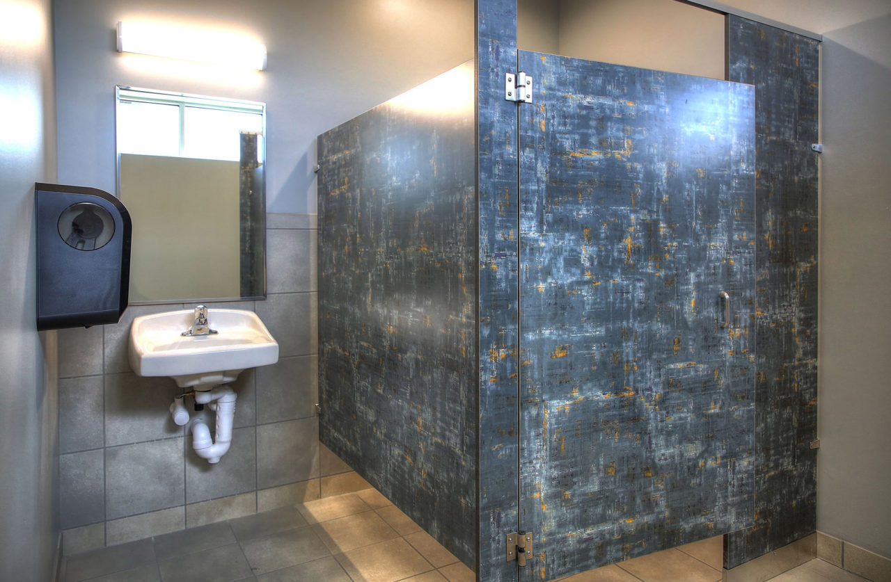 commercial restroom, tile flooring, tile backsplash
