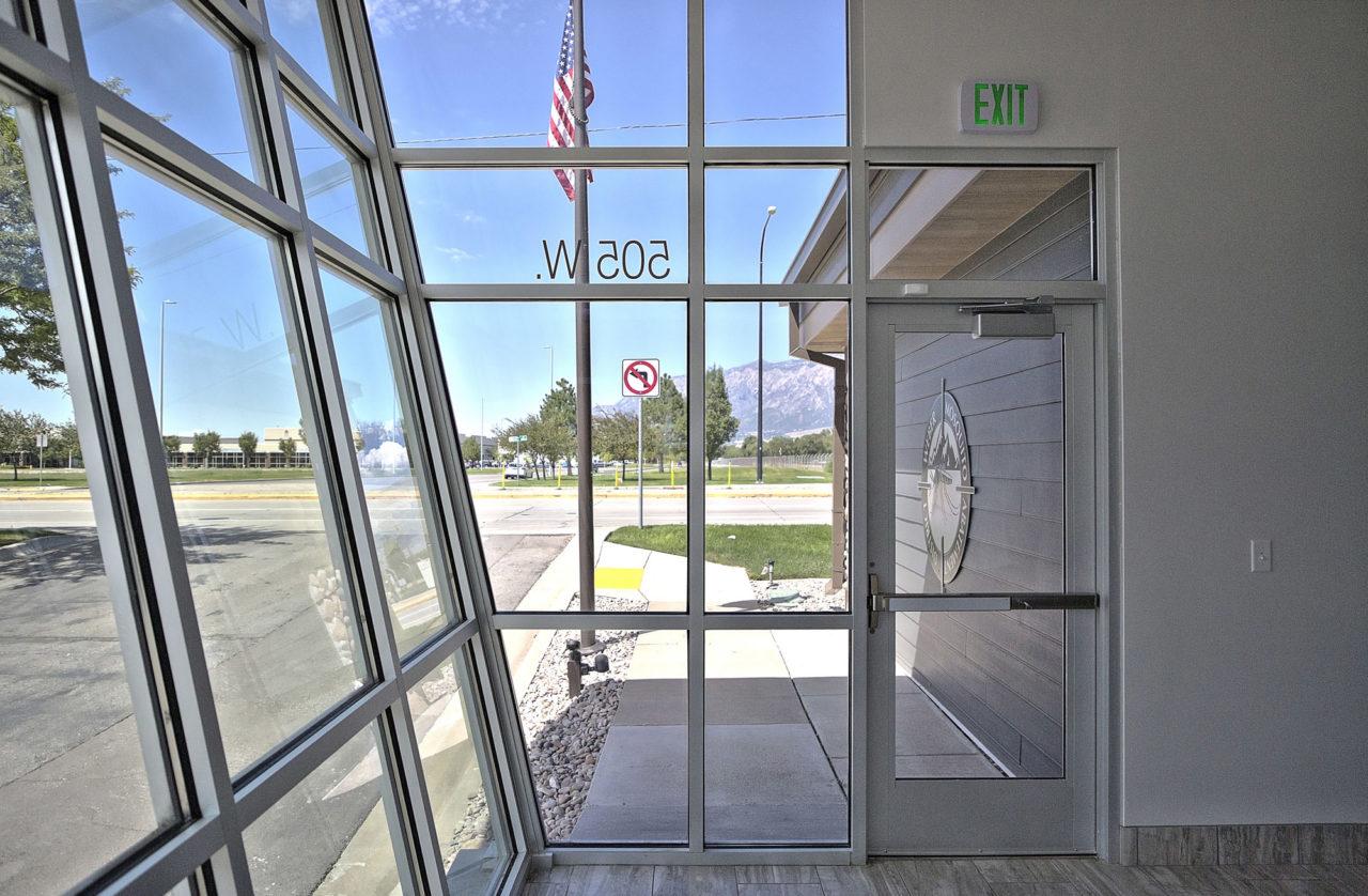 aluminum storefront windows, diagnol storefront entrance, abstract storefront entrance, unique storefront entrance