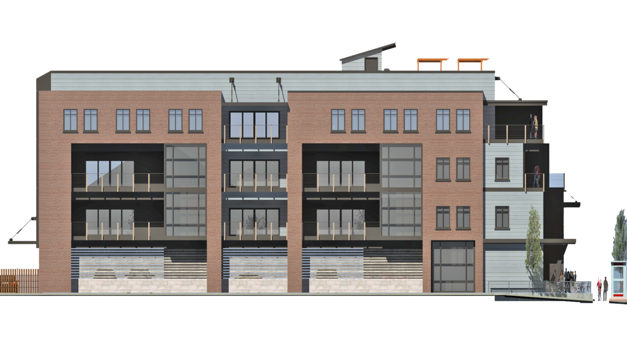 Apartment buildings in Ogden. living spaces in Ogden, brick exterior, wood siding, balcony areas. Vertical windows, 1st floor garage areas, terrace views